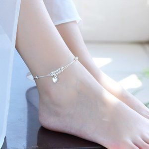 NEW 925 Sterling Silver Heart Bead Anklet